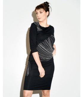 kaseee Kleid mit Linien Siebdruck